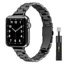 Pulseira de metal feminino para apple watch se 40mm 44mm banda série 6/5/4/3/2/1 fino aço inoxidável pulseira de pulso para iwatch se 6 bandas