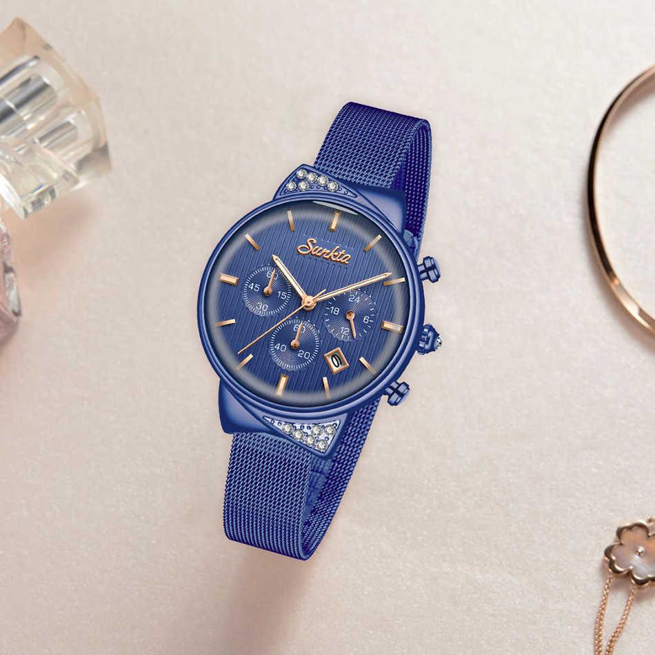 SUNKTA femmes montre haut marque de luxe décontracté mode montre femmes chronographe étanche Quartz montre femme cadeau Zegarek Damski + boîte