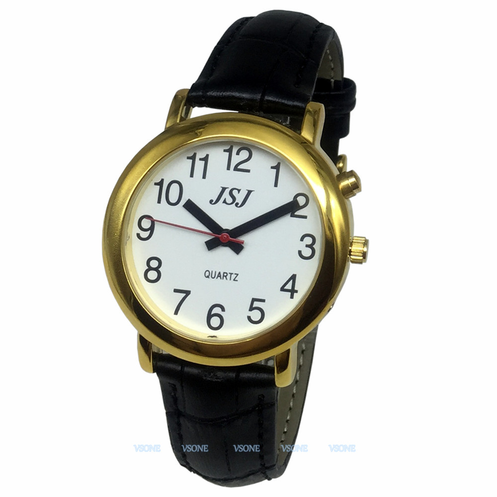 English Talking Watch With Alarm Function, Talking Date And Time, White Dial, Black Leather Band, Golden Case TAG-507