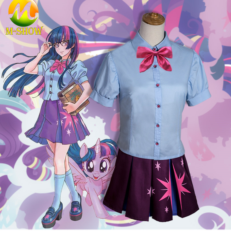 My Little Pony Twilight Sparkle Cosplay Costume Girl Student Uniform Cosplay for Halloween Cosplay Costume for Women Custom Made