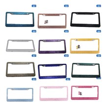 License Plate Frame License Tag Cover Holder Stainless Steel Auto Car Styling Glitter Crystal Rhinestone Truck Vehicle 13cm*16cm(China)