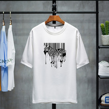 Men Zebra Print O Neck Soft Cotton pullover T Shirt Funny T-shirts Short Sleeve Novelty New Tops