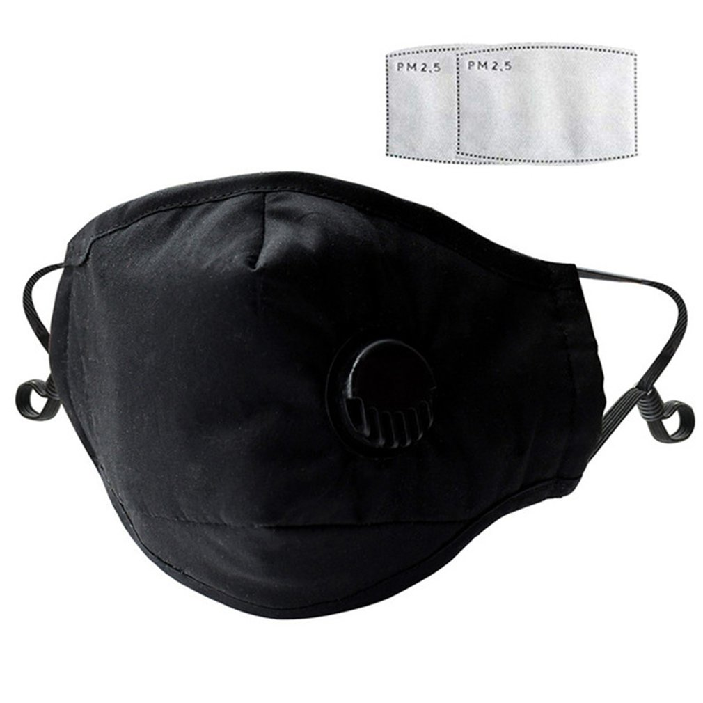 Fashion Respirator Mask With Breathing Valve Washable Cotton Activated Carbon Filter PM2.5 Mouth Masks Anti Dust Allergy