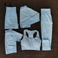 New 5 PCS Women Seamless yoga set Fitness Sports Suits GYM Clothing Yoga T Shirts+High Waist leggings+Bra+shorts Workout Pants
