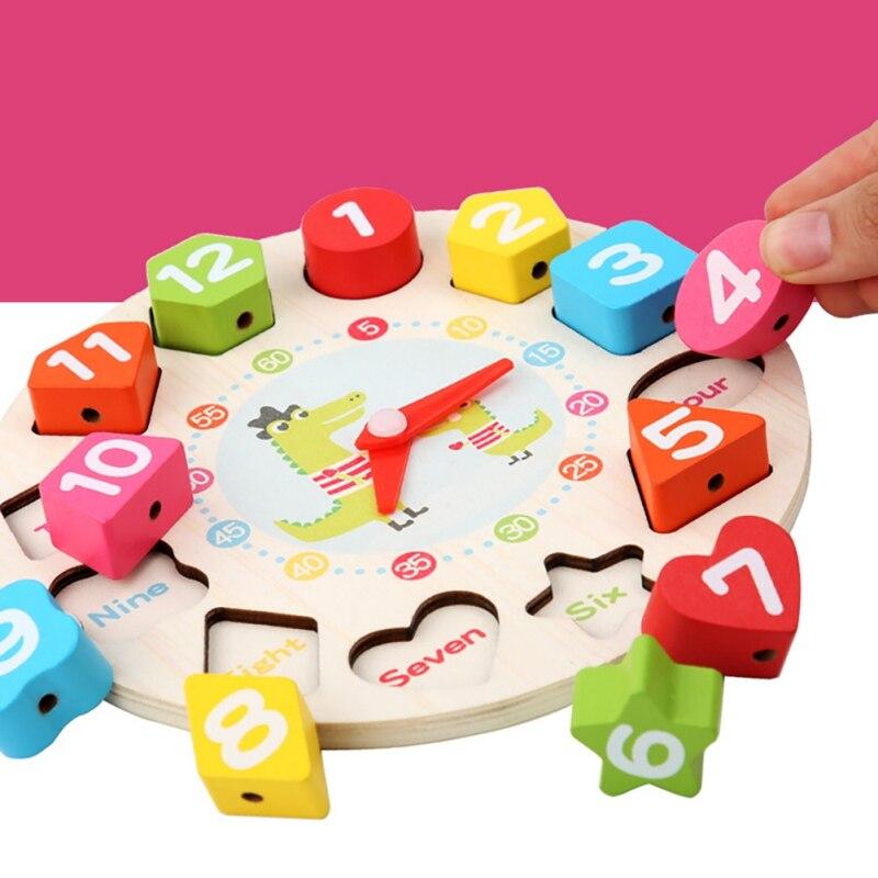 Математические деревянные игрушки с резьбой цифровые часы дошкольные Дети раннего образования Учебные пособия