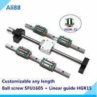 Free shipping 2 sets linear rail HGH15 linear guide any length+bearing blocks+SFU1605 ballscrew+BK12/BF12+DSG16H nut+Coupler CNC