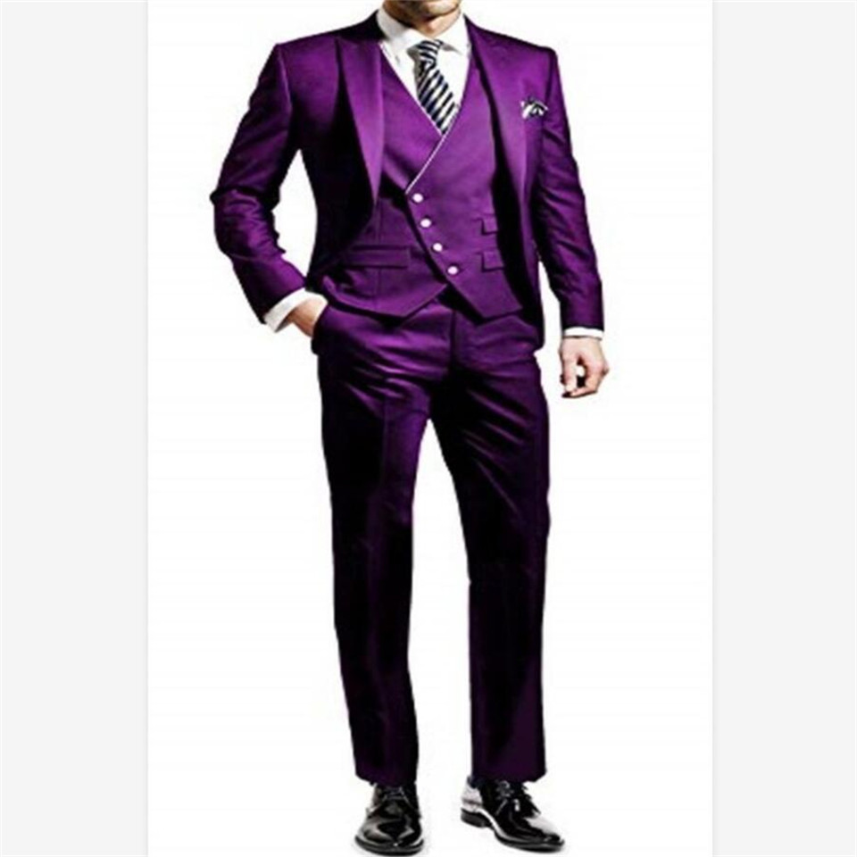 New Classic Men's Suit Smolking Noivo Terno Slim Fit Easculino Evening Suits For Men Black Lapel Single-breasted Groomsmen