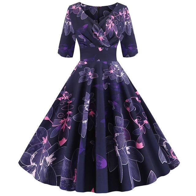 Women flower print Autumn dress Casual Winter half sleeve Elegant Vintage dress Robe femme plus size pinup office party vestidos 4