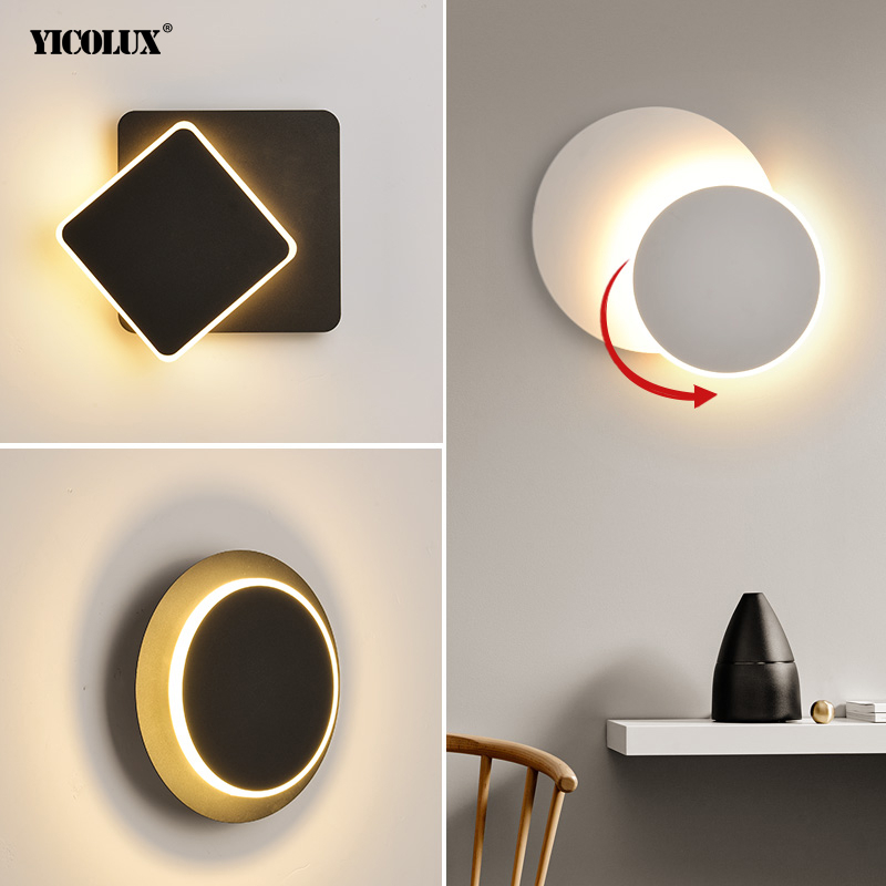 Square Round LED Wall Lamp For Bedroom Living Room Wall Lights 360 Degrees Rotatable White Or Black Panited Metal 9w Fixtures