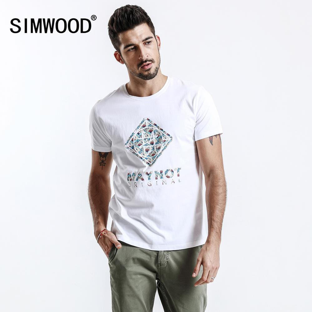 SIMWOOD New 2020 Brand Summer Short Sleeve T Shirts Men 100% Cotton Fashion Tees Plus Size O-Neck Village Print Clothing 180118