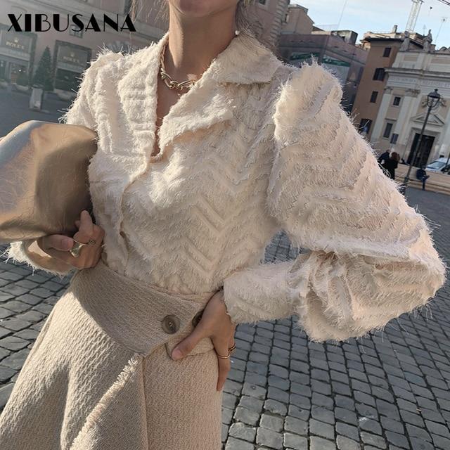 XIBUSANA Elegant Notched Collar Women Tassels Blouses 2021 Spring New Long Sleeve Single-breasted Female Workwear Shirts Tops 1