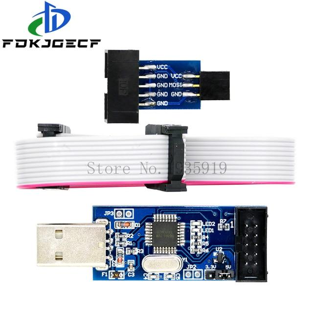 Carte adaptateur 10 pièces 10Pin à 6 broches + USBASP USBISP AVR programmeur USB fai USB ASP ATMEGA8 ATMEGA128 Support Win7 64