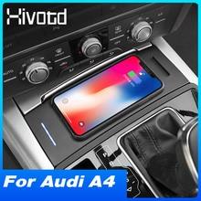 Hivotd carro qi carregador sem fio para audi a4 b8 a5 s5 rs5 2008 2017 15w suporte do telefone placa de carregamento sem fio acessórios interiores