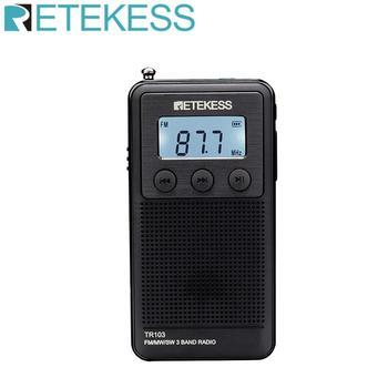 Retekess TR103 Pocket Portable Mini Radio FM / MW / SW Digital Tuning Radio 9/10Khz MP3 Music Player with Rechargeable Battery цена 2017