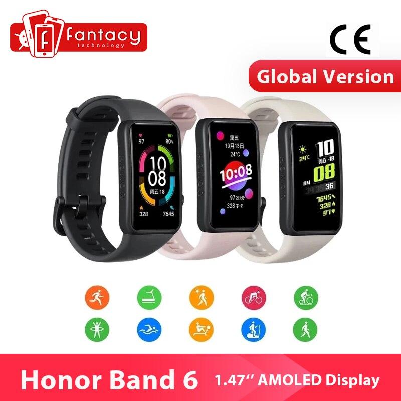 Смарт-браслет Honor Band 6, Водонепроницаемый Фитнес-браслет с AMOLED экраном, с поддержкой Bluetooth, с пульсометром, для плавания, звонков
