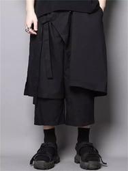 Original design Japanese dark black Yamamoto hair stylist belted loose loose casual pants nine-point pants skirt pants men's tre