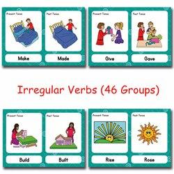 46 grupos/conjunto de verbos irregulares montessori inglês palavra bolso cartão de jogo flash aprendizagem inglês brinquedos educativos para crianças
