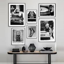 Brigitte Bardot Vintage Camera Wall Art negro blanco lienzo pintura nórdico Poster e imprimir cuadros de pared modernos para sala de estar