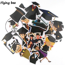 Flyingbee 16 pcs Graduation theme Waterproof Sticker PVC scrapbooking Car Stickers for DIY Luggage Laptop Notebook X0358