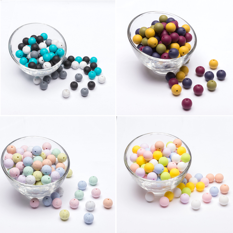Let's Make 100pc Silicone Teether Beads 15mm Round Loose Teething Chew Necklace Teether Toy DIY Baby Products Teether