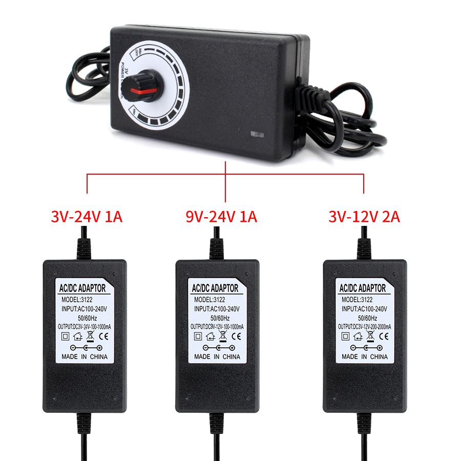 <font><b>AC</b></font> <font><b>DC</b></font> Adjustable Power Adapter Universal <font><b>3V</b></font> 9V <font><b>12V</b></font> 24V 2A 1A Display Screen Power Supply Transformer 220V TO <font><b>12V</b></font> 24V EU US PLUG image