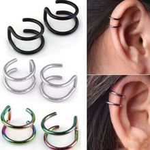 1PCS Clip On Wrap Earring Tragus Stainless Steel 2 Rings Ear Cuff nose ring Fake Piercing Body Jewelry Dilataciones