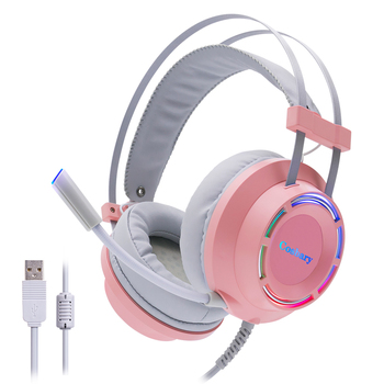 Cosbary Headphones Pink Gaming Headset with Microphone USB Wired 7.1 Surround Sound Led Light for PC Gamer Computer Laptop Xbox sades spirit wolf usb 7 1 stereo gaming headphones with microphone led for computer laptop bass casque pc gamer wired headset