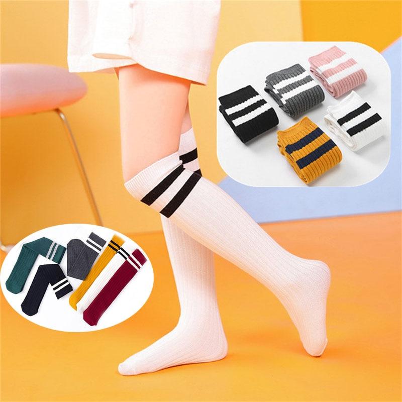 Cotton Striped  Student Children's Football Skarpetki Meias Knee Socks Kids High Girls Baby Long Kniekousen Meisje Boys