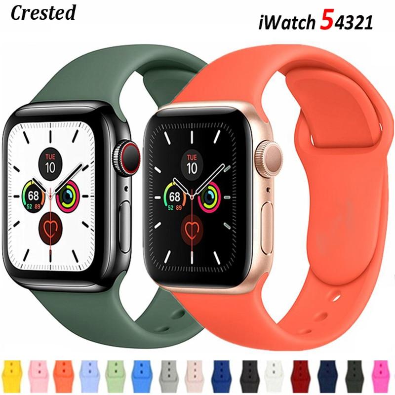 Ремешок силиконовый для Apple Watch band 40 мм 44 мм 38 мм 42 мм, резиновый спортивный браслет для смарт-часов iWatch Series 3 se 4 5 6