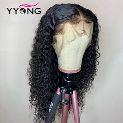 YYong Water Wave Lace Front Human Hair Wig Peruvian Water Wave Glueless Remy Human Hair Lace Front Wigs Pre Plucked 150 Density