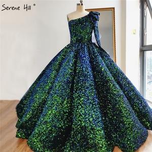 Image 1 - 화이트 섹시 한 어깨 하이 엔드 웨딩 드레스 2020 두바이 스팽글 스파클 럭셔리 신부 가운 HA2290 맞춤 제작