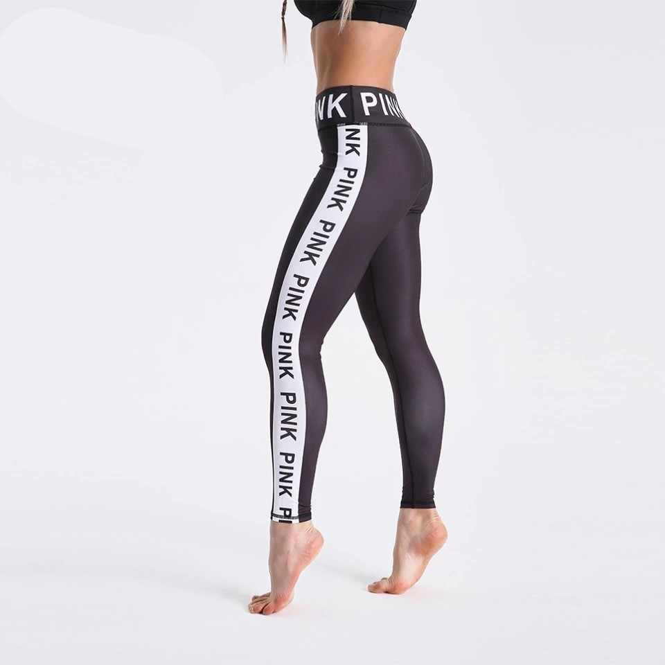 Mode Vrouwen Zwart Leggings 3D Letters Gedrukt Broek Outdoor Sport Fitness Leggings Plus Size Sport Leggings Jeggings O5A044
