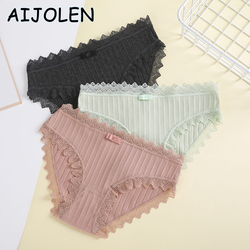 AIJOLEN Threaded Cotton Panties Low Waist Lace Underwear Women Breathable Solid Color Panties Comfortable Elastic Close-fitting