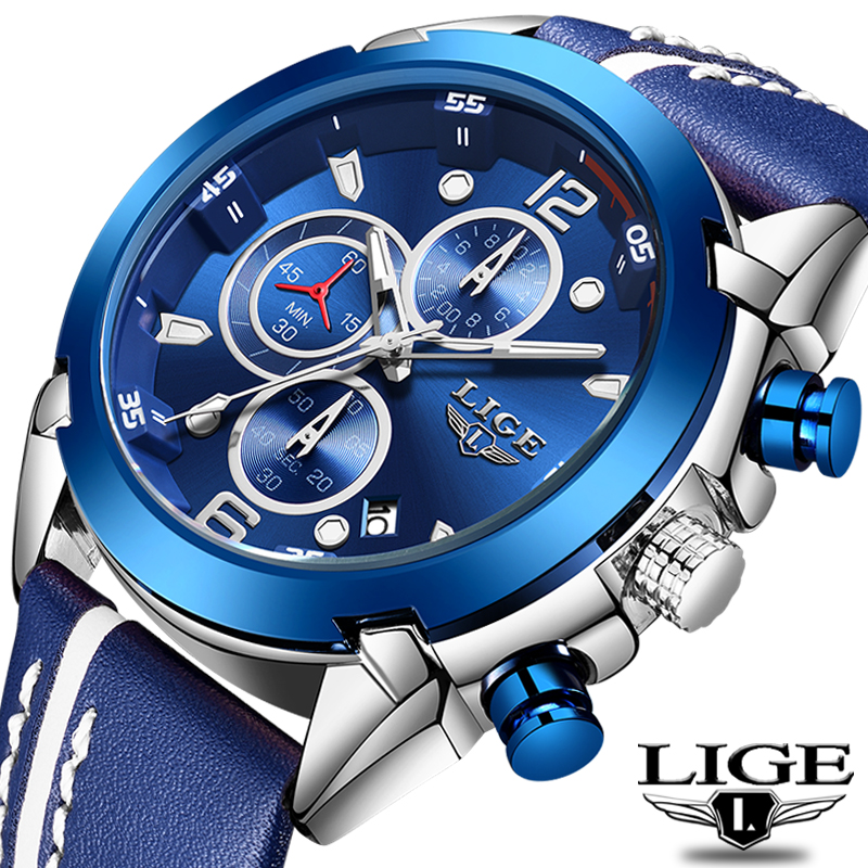 Relogio Masculino 2020 LIGE New Men Watch Top Brand Fashion Chronograph Quartz Watch Men Sport Military Wrist Watch Reloj Hombre