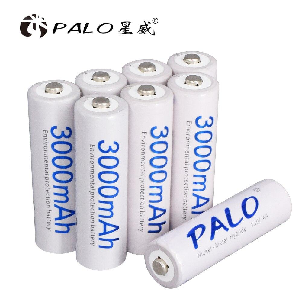 Piles d'origine Palo AA 1.2V AA 3000mAh Ni-MH batterie Rechargeable pré-chargée 2A Baterias pour jouet d'appareil photo
