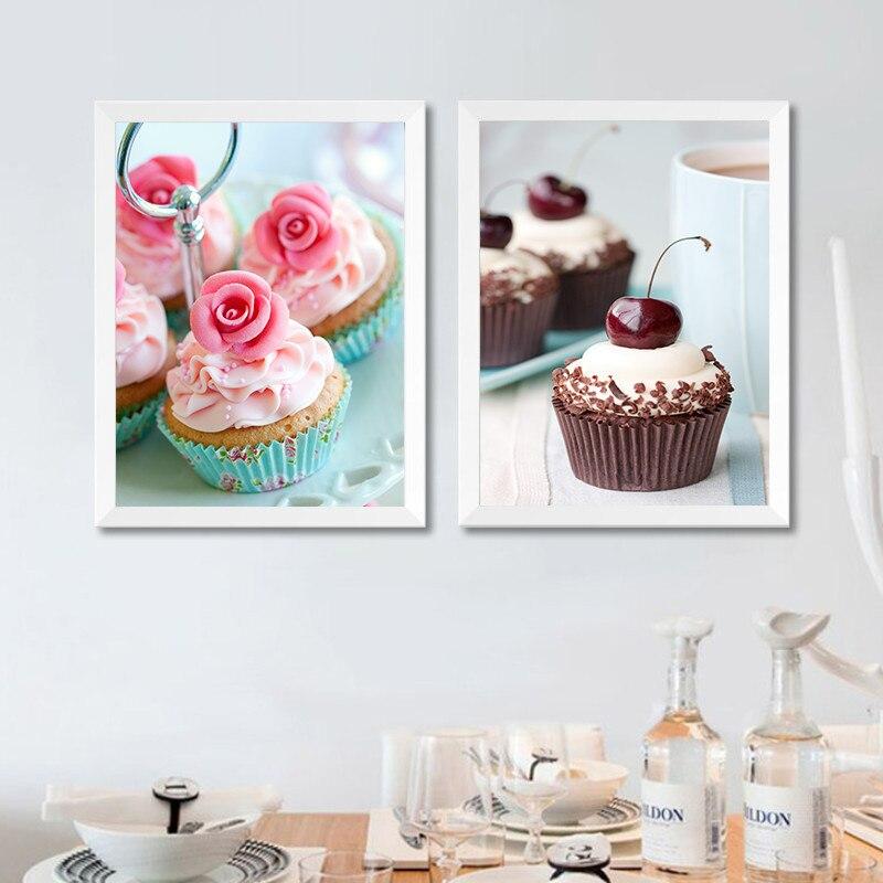 Картина на холсте с изображением десерта, Милый Постер с изображением торта, Современный домашний декор, Настенная картина для торта, магаз...