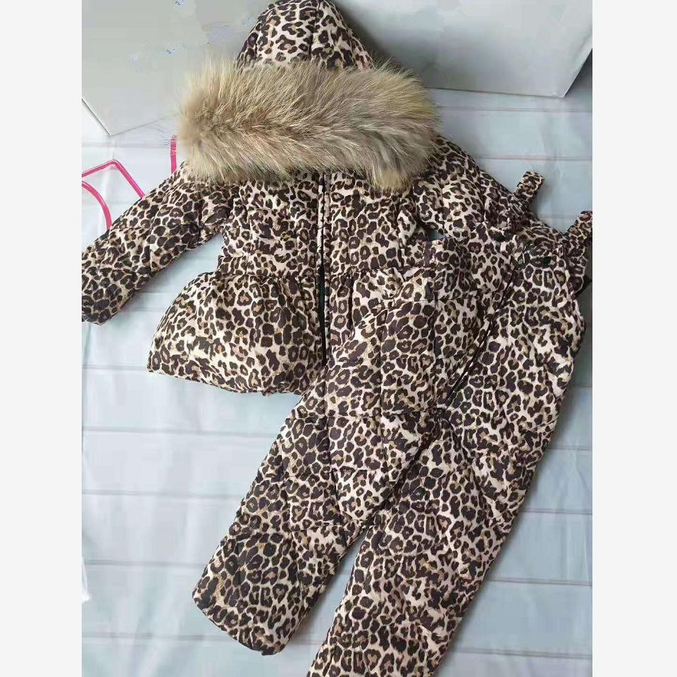 Winter Hooded Down Jacket Coat Kids Snow Wear Warm Leopard Outerwear Real Fur Collar Parka Modis Down Jacket Drop Shipping Y2022