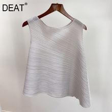 DEAT pilili kadın T Shirt düzensiz Hem yuvarlak yaka kazak kolsuz katı rahat Undefined 2021 yeni yaz moda HT498