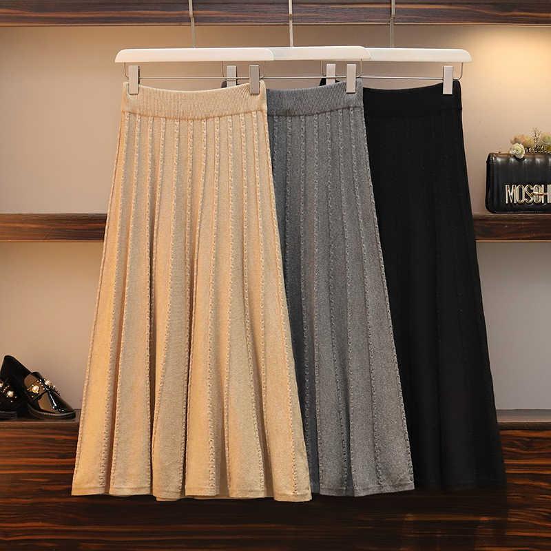 4xl, хорошее качество, большие размеры, винтажные женские 2020, весна, осень, зима, корейский трикотаж, высокая талия, свободные длинные юбки, женские, K0170
