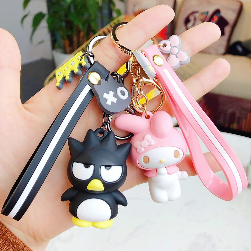 1 Pc Creative Sanrio Series My Melody Pudding Cinnamoroll Dog Hello Kitty Keychain Bag Pendant Keyring For Girls Figure Toy