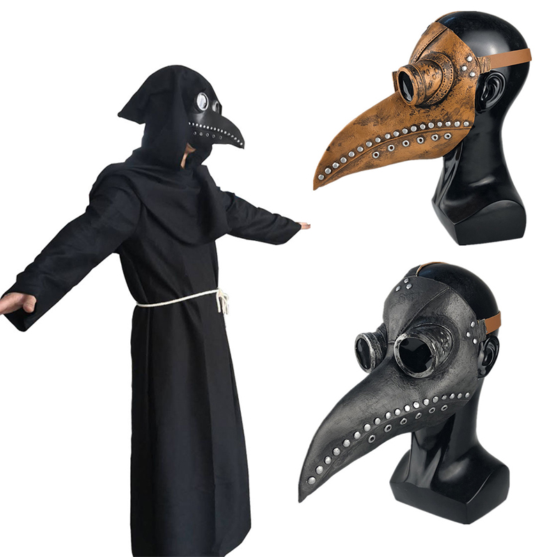 Plague Doctor Mask Bird Beak Long Nose Masks Cosplay Costume  Unisex Halloween Medieval Cloak
