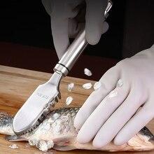 Нержавеющая сталь рыба чешуя скребок бытовой ручной рыба скребок портативный кухонный гаджет для дома x