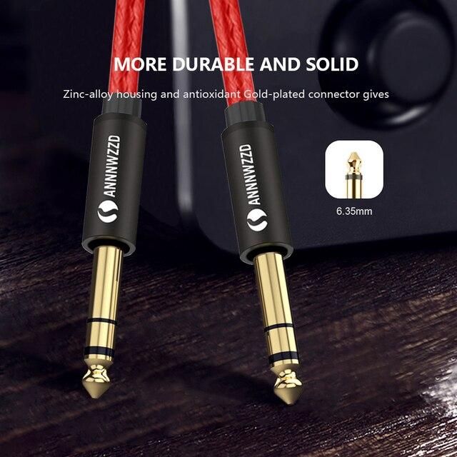6.35mm do 6.35mm przewód Stereo 1/4 Cal męski TRS głośnik Amp kabel Jack dla wzmacniacz gitarowy klawiatura profesjonalny Instrument itp
