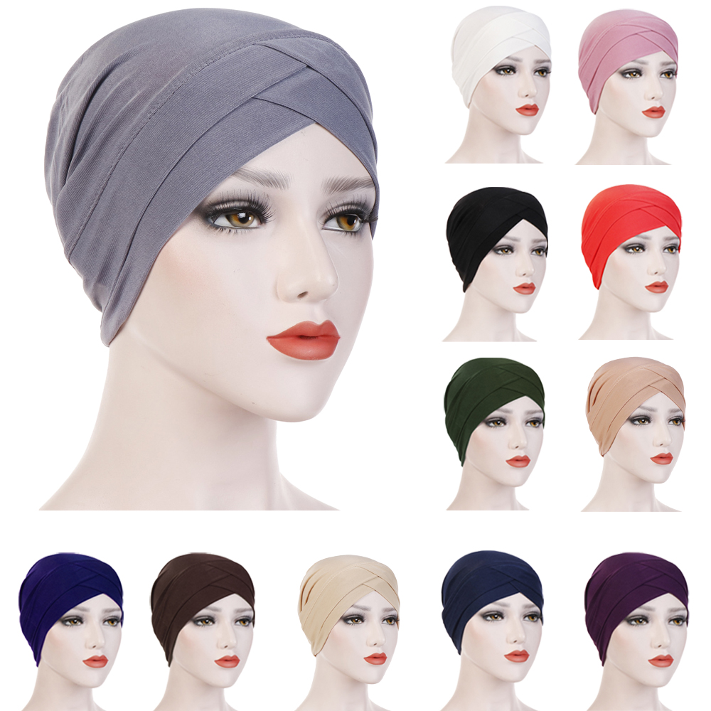 Muslim Women Hijab Turban Hat Head Scarf Hair Loss Cancer Chemo Cap Headscarf Wrap Islamic Beanie Bonnet Stretch Headwear Hat