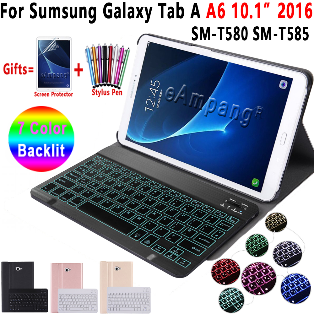 Case for Samsung Galaxy Tab A A6 10.1 2016 Keyboard Case T580 T585 SM T580 SM T585 Cover 7Color Backlit Bluetooth Keyboard FundaTablets & e-Books Case   -