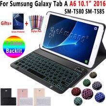 Fall für Samsung Galaxy Tab EINE A6 10,1 2016 Tastatur Fall T580 T585 SM T580 SM T585 Abdeckung 7 Farbe Backlit Bluetooth tastatur Funda