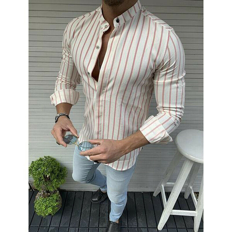Men/'s Casual Slim Striped T-Shirt High Collar Stripe Long Sleeve Shirt S-3XL