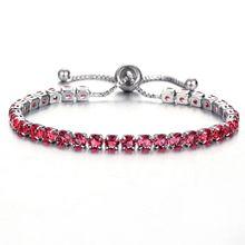 Ladies fashion adjustable red crystal bracelet silver charm wedding sweet jewelry romantic birthday gift FXM