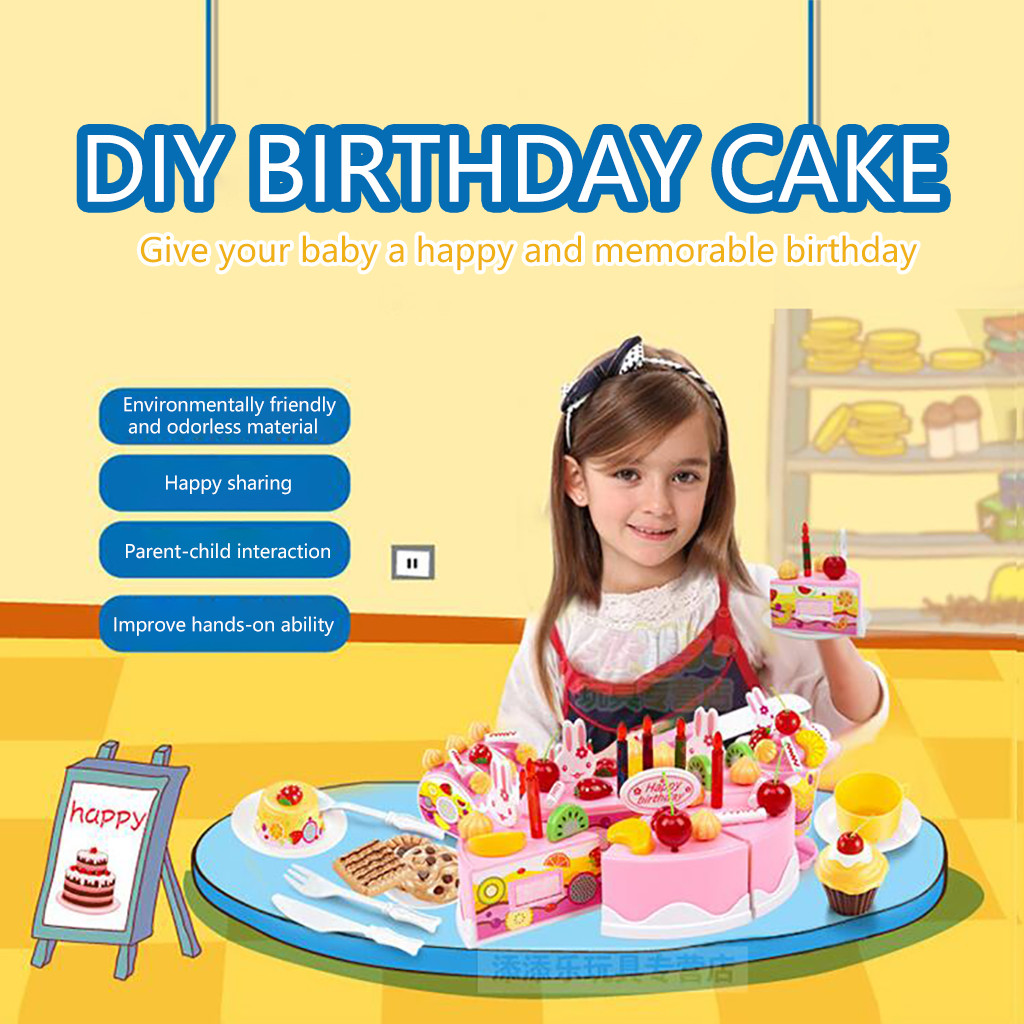 Miraculous 54Pcs Diy Pretend Play Fruit Cutting Birthday Cake Cream Tea Set Personalised Birthday Cards Veneteletsinfo