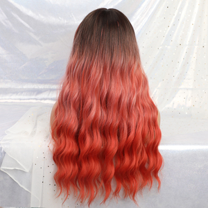 Image 2 - ALAN EATON Long Ombre Orange red Black Women Wigs with Bangs Heat Resistant Synthetic Wavy Wigs Female African American Cosplay